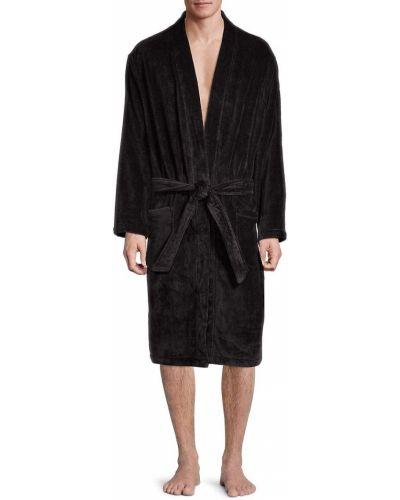 Czarny szlafrok bawełniany z długimi rękawami Polo Ralph Lauren