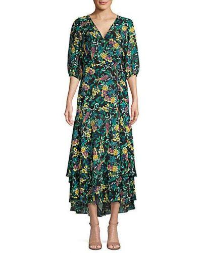 Черное платье миди с подкладкой в цветочный принт Calvin Klein