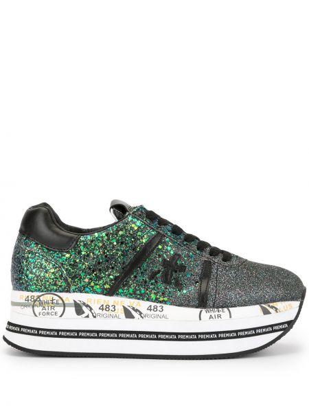Кроссовки на платформе с глиттером на шнуровке Premiata