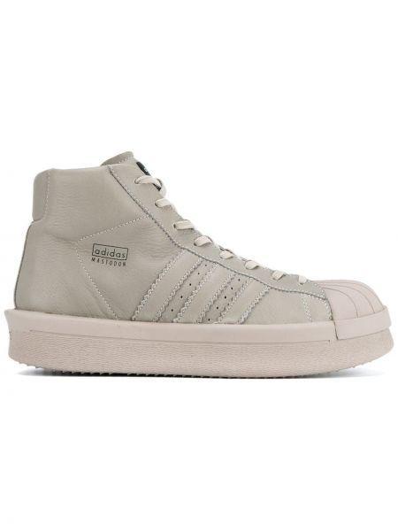 Кожаные серые высокие кроссовки с заплатками на шнуровке Adidas By Rick Owens