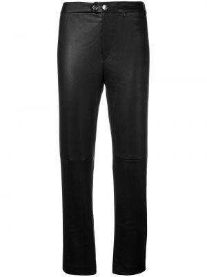 Черные кожаные укороченные брюки с карманами Isabel Marant