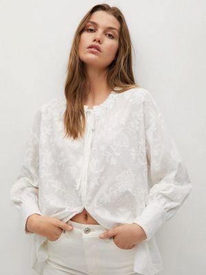 Белая блузка с длинными рукавами Mango