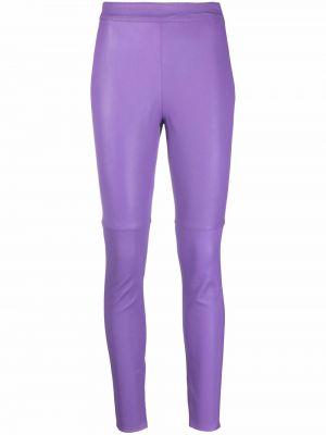 Кожаные брюки - фиолетовые Blumarine