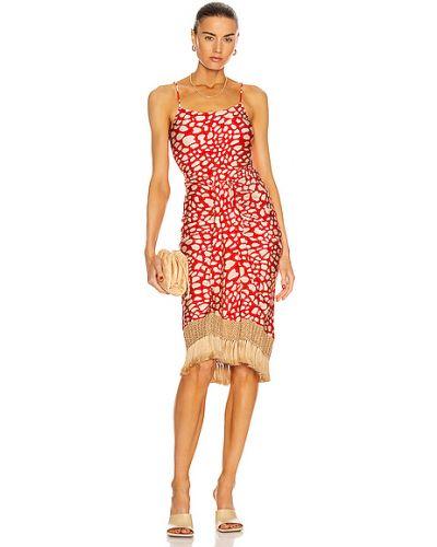 Бежевое платье с подкладкой с бахромой Patbo