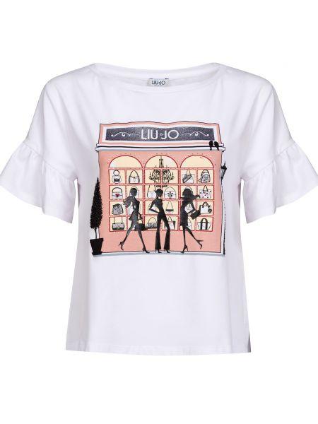 Хлопковая футбольная белая футболка Liu Jo