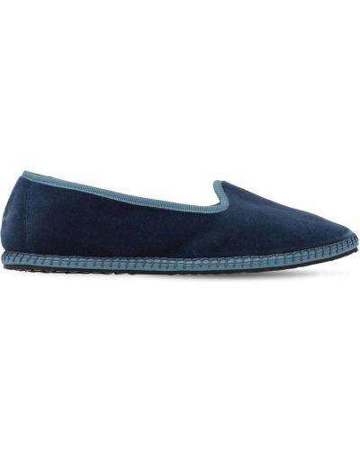 Niebieskie loafers z aksamitu Vibi Venezia