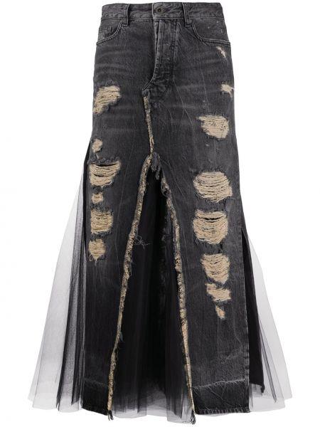 Черная классическая джинсовая юбка с поясом из фатина Unravel Project