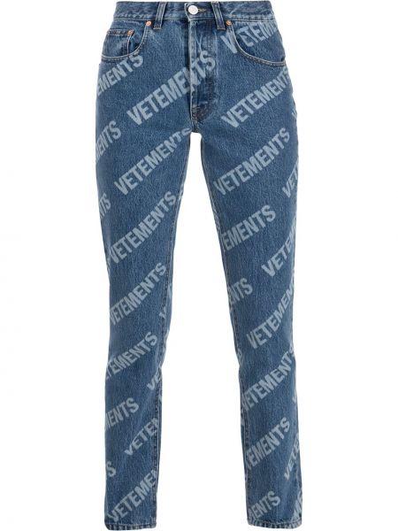 Хлопковые синие джинсы на молнии Vetements