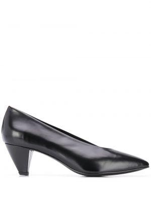 Кожаные черные туфли-лодочки на каблуке без застежки Dorateymur