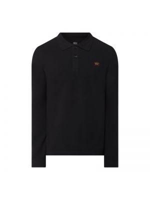 Czarny t-shirt z długimi rękawami bawełniany Paul & Shark