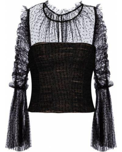 Черная блузка с сеткой из фатина Self-portrait