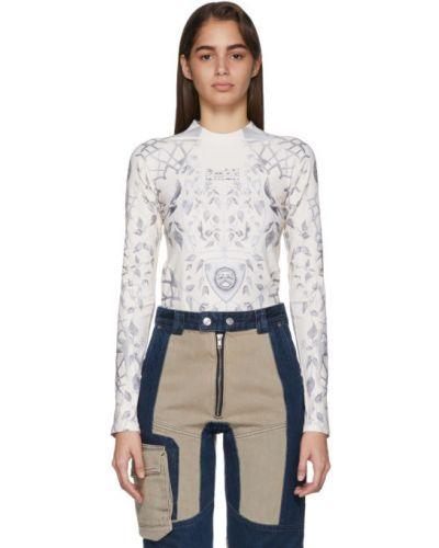 Beżowy t-shirt z długimi rękawami z nylonu Gmbh