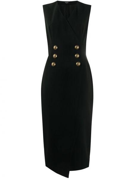 Приталенное черное платье без рукавов Balmain