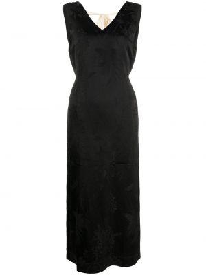 Черное платье миди без рукавов с вырезом Uma Wang