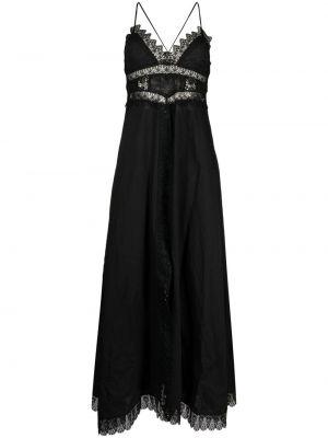 Czarna sukienka długa koronkowa z dekoltem w serek Charo Ruiz Ibiza