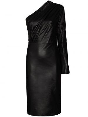 Кожаное черное платье на одно плечо Dodo Bar Or