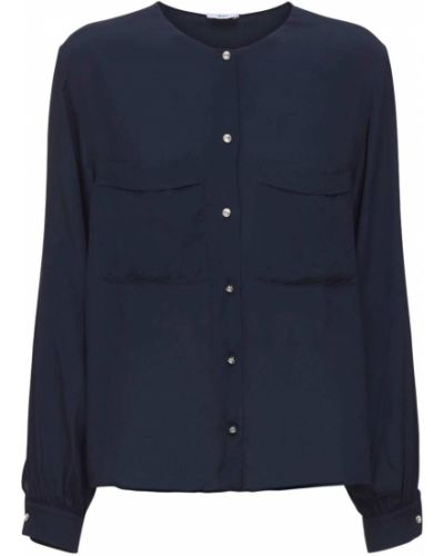 Синяя рубашка из крепа Ag