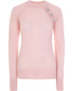 Вязаный джемпер на пуговицах розовый Balmain