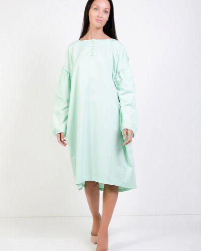 Коктейльное платье осеннее зеленый Kriza