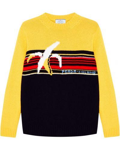 Вязаный свитер в рубчик в полоску Prada