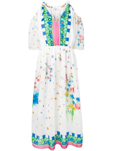 С рукавами белое платье на молнии с открытыми плечами Blugirl