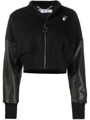 Укороченная кожаная куртка - белая Off-white