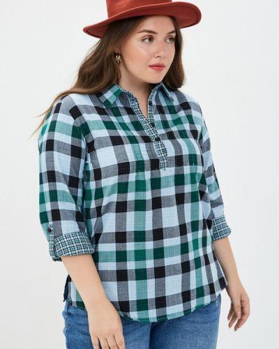 Бирюзовая блузка с длинным рукавом с длинными рукавами Ulla Popken