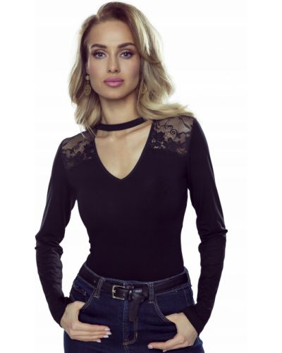 Czarna bluzka koronkowa z długimi rękawami Eldar