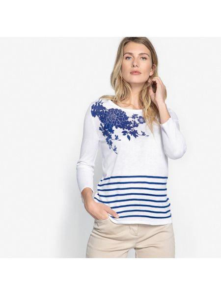 Пуловер в полоску с рисунком Anne Weyburn