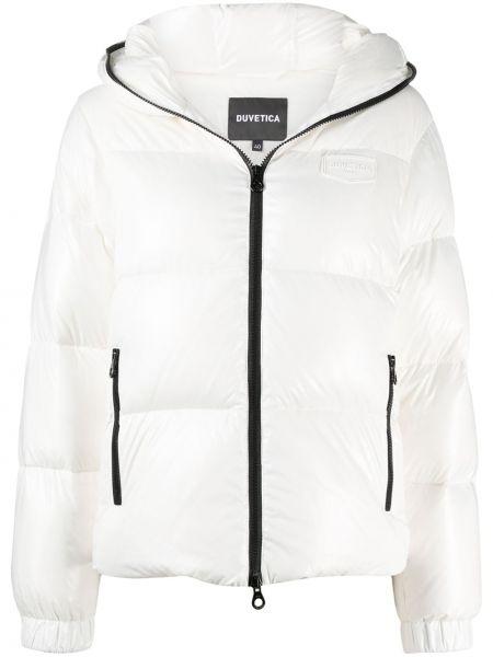 Белая классическая куртка с капюшоном с карманами с перьями Duvetica