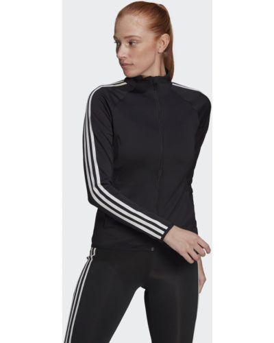 Черная олимпийка для фитнеса с нашивками Adidas