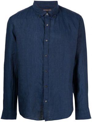 Синяя рубашка с воротником на пуговицах Michael Michael Kors