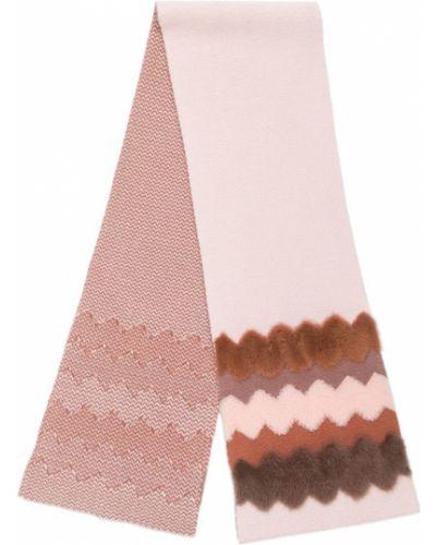 Норковый розовый шарф вязаный Cara Mila