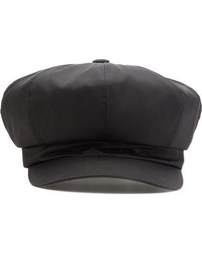 Klasyczna czarna czapka skórzana Prada