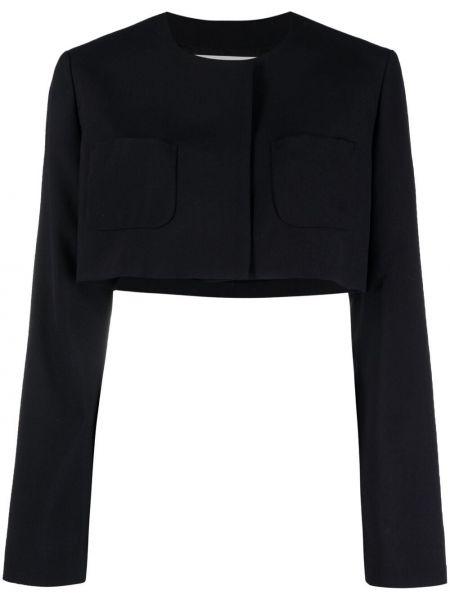 Шерстяной синий удлиненный пиджак с карманами Comme Des Garçons Girl