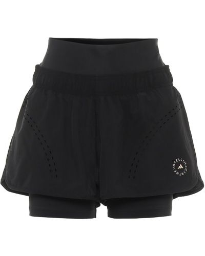 Текстильные тренировочные черные шорты Adidas By Stella Mccartney