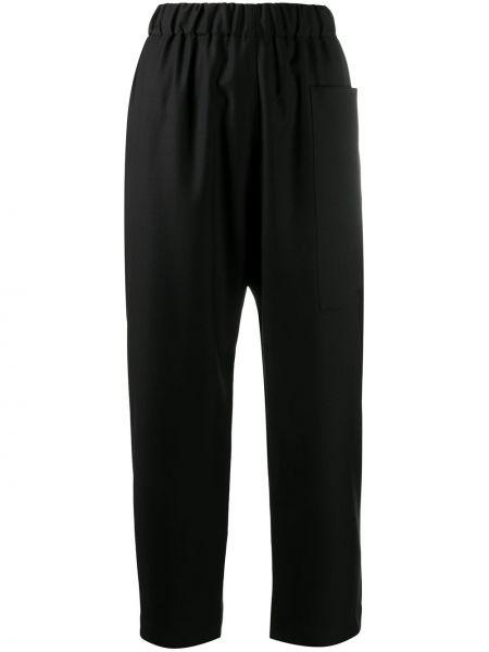Прямые шерстяные черные укороченные брюки с поясом Sofie D'hoore