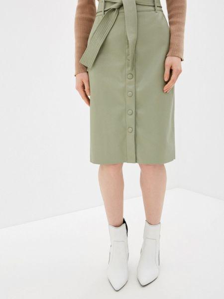 Кожаная юбка зеленый весенняя Zarina