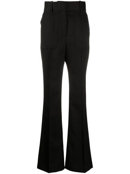 Rozbłysnął wełniany czarny spodnie z paskiem Givenchy