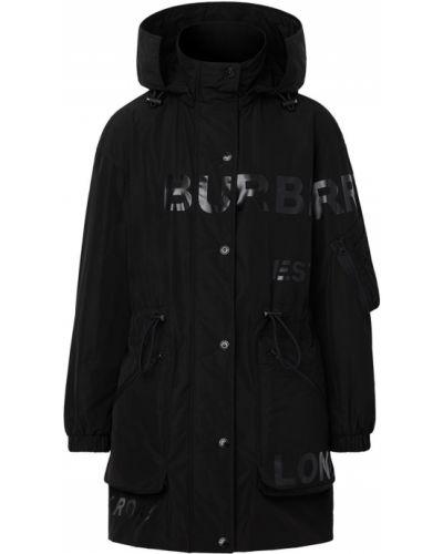 Czarny płaszcz przeciwdeszczowy z długimi rękawami z printem Burberry
