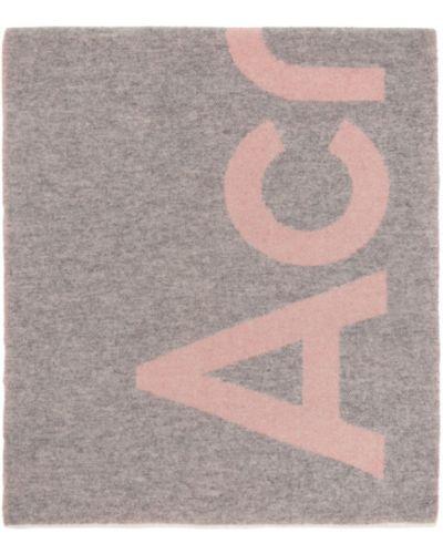 Wełniany różowy szalik z logo prostokątny Acne Studios