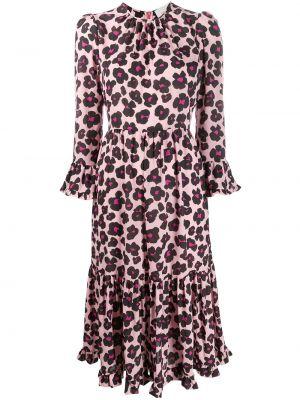Расклешенное приталенное розовое платье миди с вырезом La Doublej
