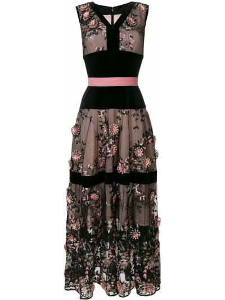 Черное платье с вышивкой из фатина Talbot Runhof