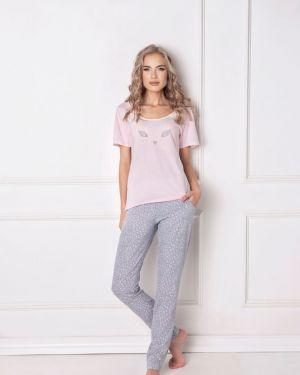 Różowa piżama bawełniana krótki rękaw Aruelle