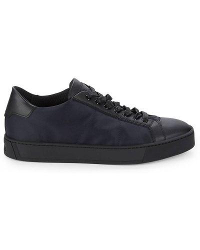 Czarne sneakersy skorzane sznurowane Santoni