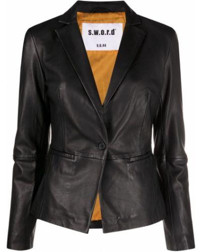Черный приталенный кожаный удлиненный пиджак S.w.o.r.d 6.6.44