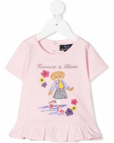 Хлопковая розовая футболка круглая с круглым вырезом Harmont & Blaine Junior