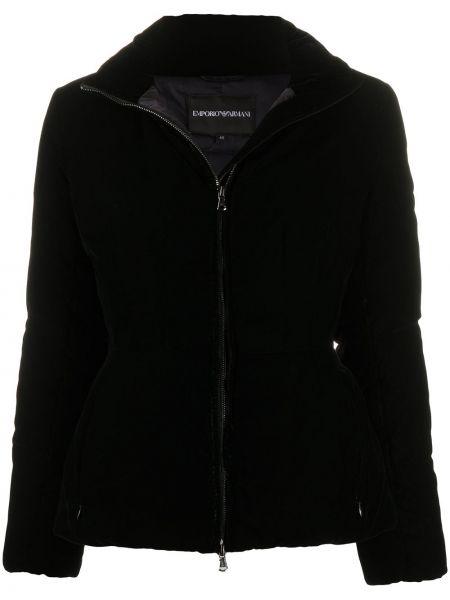 Черная длинная куртка из искусственного меха с воротником Emporio Armani