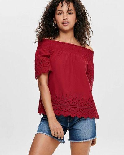 Блузка с открытыми плечами бордовый весенний Only