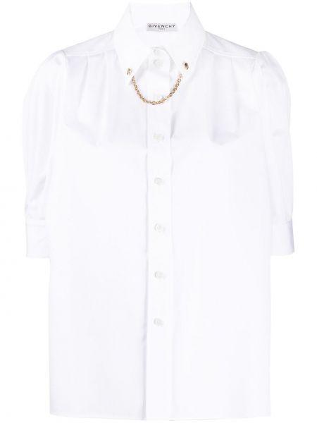 Biała klasyczna koszula krótki rękaw bawełniana Givenchy